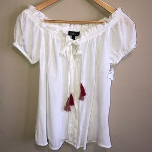 Tops - NWT White Shirt with Red Tassel